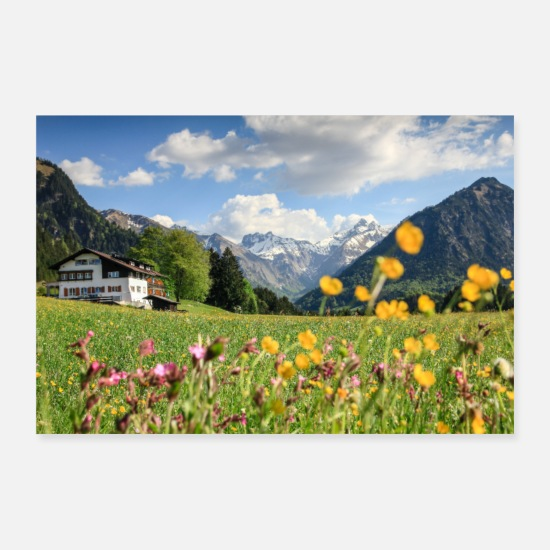 Mountains Posters - Flower meadow with snowy mountains and house - Posters white