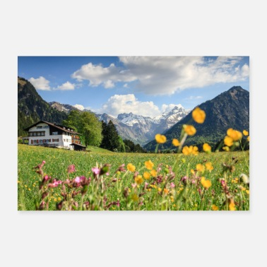 Farming Flower meadow with snowy mountains and house - Poster