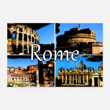 Italien Rome Roma Collage Comic sign lettering - Poster