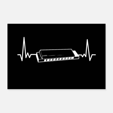 Nashville Harmonica Heartbeat Blues Music Harp Musical Gift - Poster