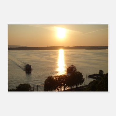 Lake Constance with sunset - Poster