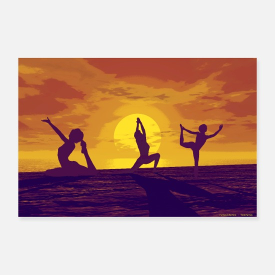 Yoga Posters - YOGA OP HET STRAND 2 - Posters wit