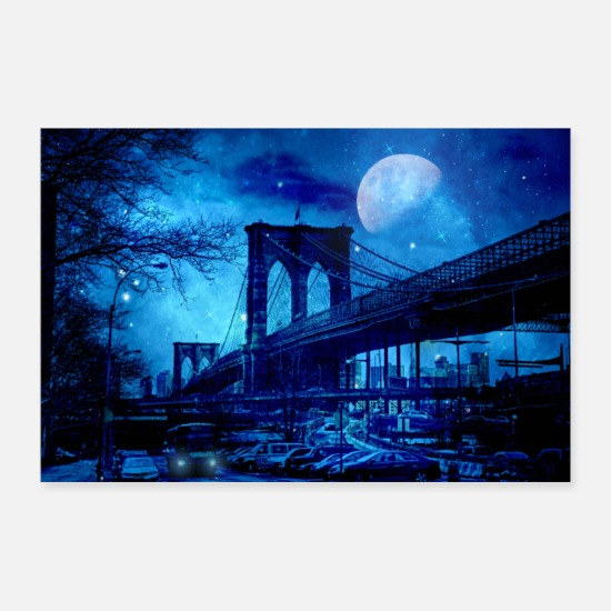 New York Posters - Brooklyn Bridge New York Art bleu - Posters blanc