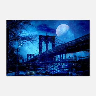 Urban Brooklyn Bridge New York Blue Art - Póster
