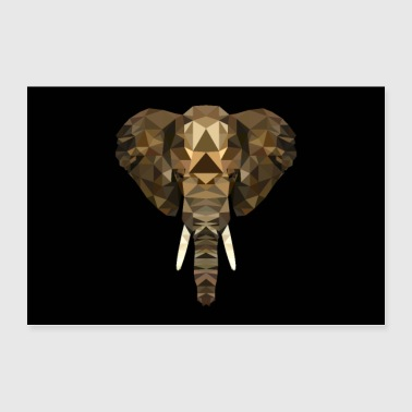 ELEPHANT AFRICA ANIMAL BUTTON GIFT ANIMAL LOVE POLY - Poster 36 x 24 (90x60 cm)
