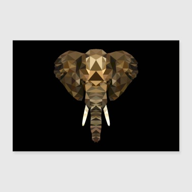 ELEPHANT AFRICA ANIMAL BUTTON GIFT ANIMAL LOVE POLY - Poster 90x60 cm
