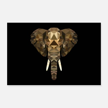 Mammal ELEPHANT AFRICA ANIMAL BUTTON GIFT ANIMAL LOVE POLY - Poster 36 x 24 (90x60 cm)