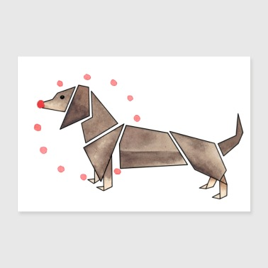 Origami Dachshund poster design - Poster 36 x 24 (90x60 cm)