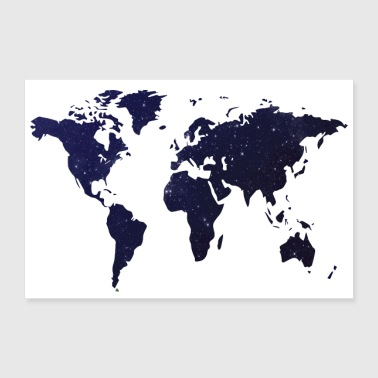 Shop world map posters online spreadshirt poster world map night sky poster 36 x 24 90x60 cm gumiabroncs Gallery
