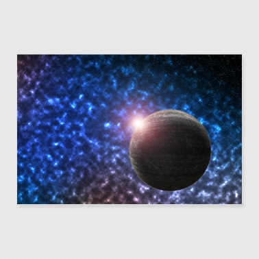 Universe planet with wolcken and star - Poster 36 x 24 (90x60 cm)