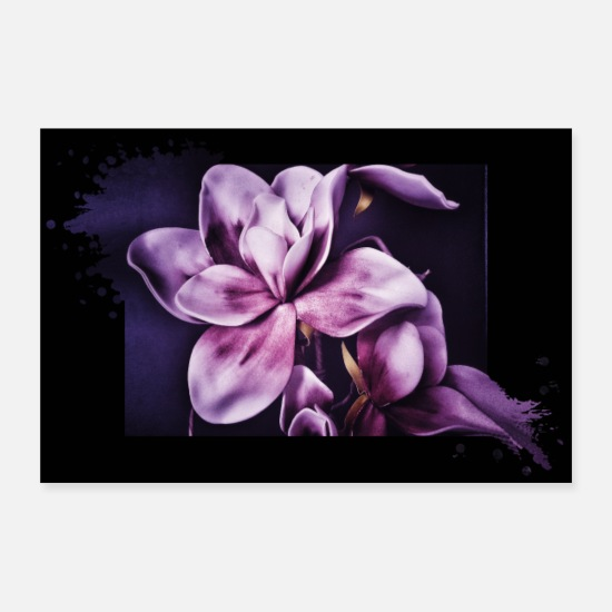 Paars Posters - Bloem magnolia paars paarse poster - Posters wit