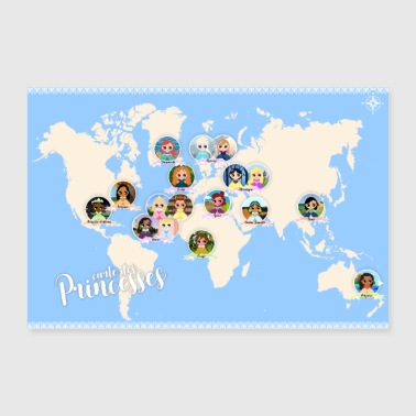 Map of princesses - Poster 36 x 24 (90x60 cm)
