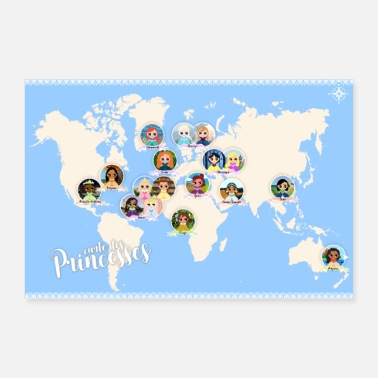 Map Map of princesses - Poster 36 x 24 (90x60 cm)
