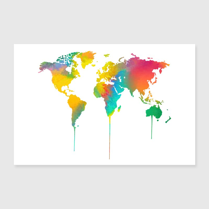 Watercolor world map poster by amazona spreadshirt watercolor world map poster poster 36 x 24 90x60 cm gumiabroncs Choice Image