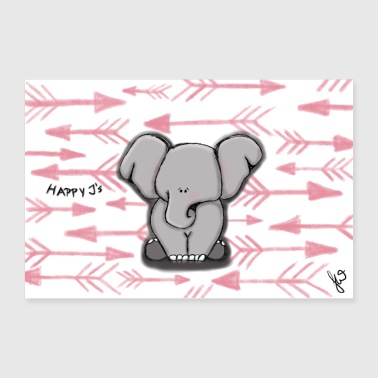 Happy Elephant Girl de Happy J - Poster 90 x 60 cm