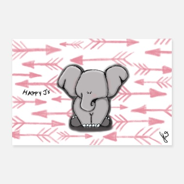 Girlie Happy Elephant Girl de Happy J - Poster 90 x 60 cm