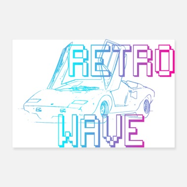Car Retro Wave POSTER - Poster 36 x 24 (90x60 cm)