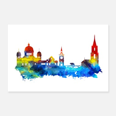 Tourist Bern Colorful Skyline Gift Idea Poster - Poster 36 x 24 (90x60 cm)