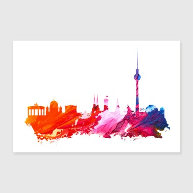 Stadt Berlin Silhouette Poster - Poster 90x60 cm