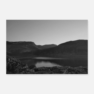Lake in Sweden with mountains black and white - Poster