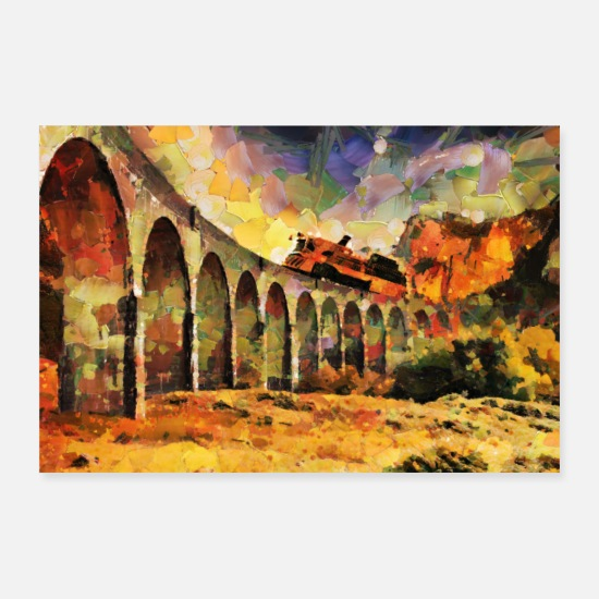Steam Engine Posters - Train on stone bridge - Posters white