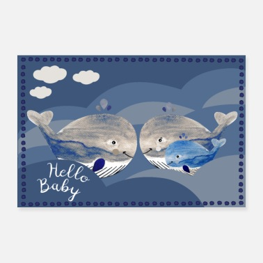 Very Much Hello Baby Little whale family - Poster