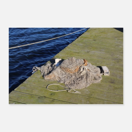 Pond Posters - fishing net - Posters white