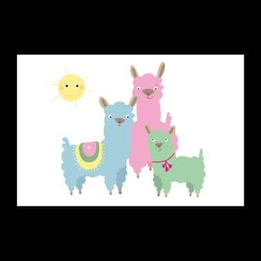 Famille Lama - Poster 90 x 60 cm