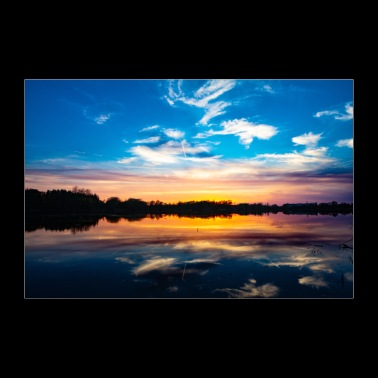 Sunset at the lake / Sunset / Landscape picture - Poster 36 x 24 (90x60 cm)