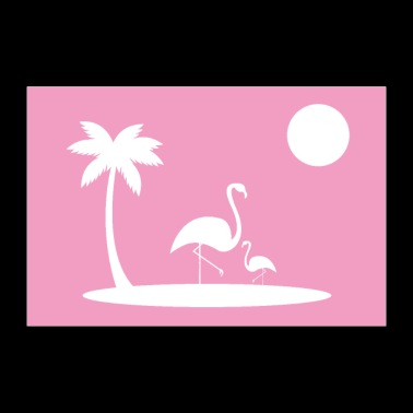 Flamingos on island poster - Poster 36 x 24 (90x60 cm)
