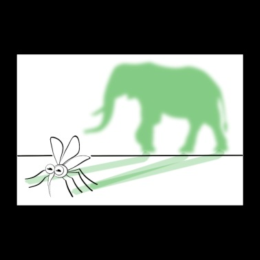 Out of a mosquito make an elephant drawing - Poster 36 x 24 (90x60 cm)