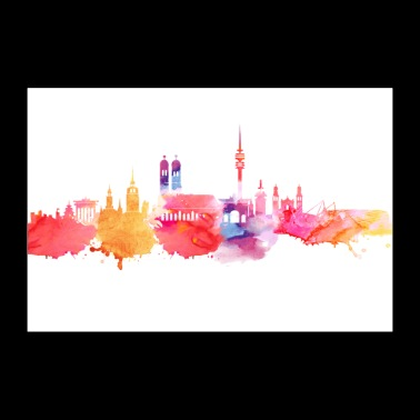 Munich in water colors - Poster 36 x 24 (90x60 cm)