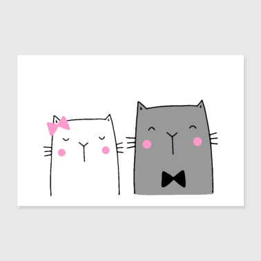 Mariage couple chats mariage affiche murale - Poster 90 x 60 cm