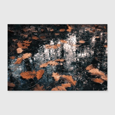 forest puddle - Poster 36 x 24 (90x60 cm)