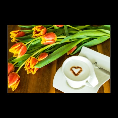 Coffee with heart and tulips - Poster 36 x 24 (90x60 cm)