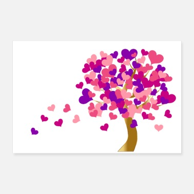 Heart Eyes Heart tree | Tree of hearts - poster white - 30x20 cm Poster