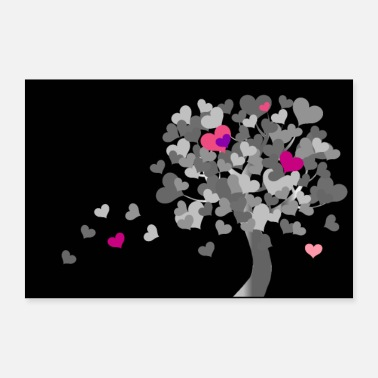 Heart Eyes Heart tree | Tree of hearts - black and white - 30x20 cm Poster