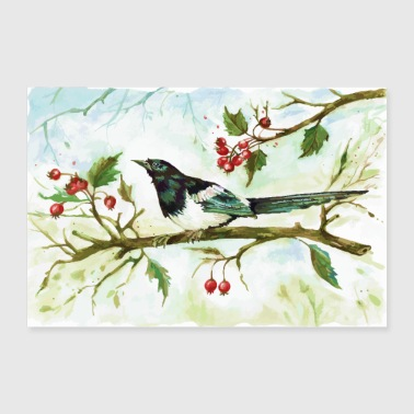 Watercolour Magpie bird - 30x20 cm Poster