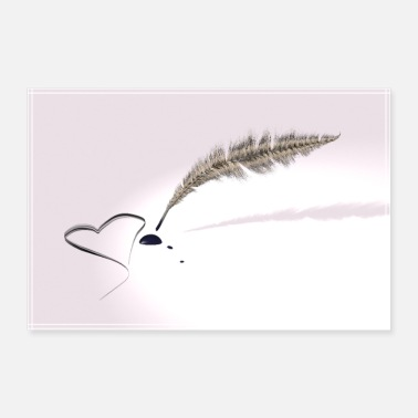 Pen Love letter - Quill pen with ink blotch heart - 30x20 cm Poster