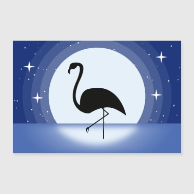 Starry Sky Flamingo at night poster - 30x20 cm Poster