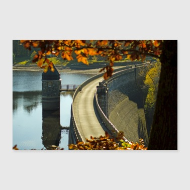 Dam in autumn poster - 30x20 cm Poster