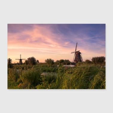 Hollande Kinderdijk moulins à vent Holland soirée rouge pittoresque - Poster 30 x 20 cm