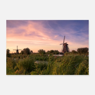 Holland Kinderdijk vindkraftverk Holland kväll röd pittoresk - Poster