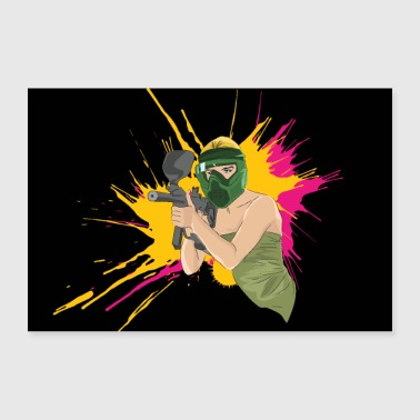Paintball Girl sexy blonde - 30x20 cm Poster
