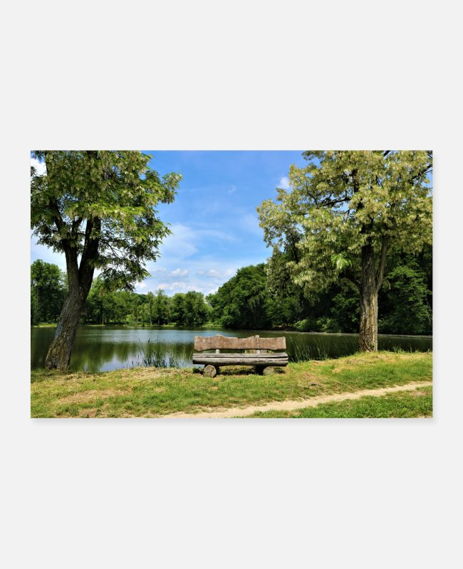 Bench Posters - Lake with bench in front of it - Posters white