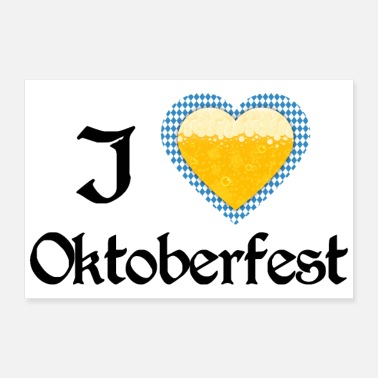 I Heart I love Oktoberfest Bavarian blue beer heart - Poster 30x20 cm