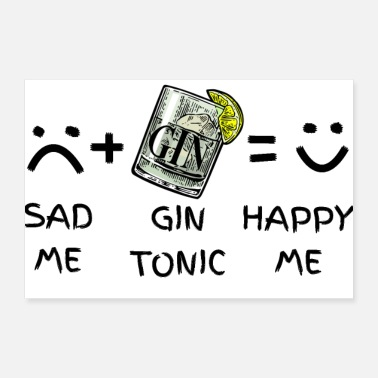 Plus Sad Me (traurig) + Gin Tonic = Happy Me - Poster 30x20 cm