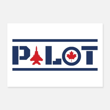 Nose Nose Art Pilot Canada maple leaf blue gift idea - 30x20 cm Poster