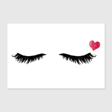 Eyelashes Eyelashes - Heart - Eyes Closed - Gift Idea - 30x20 cm Poster