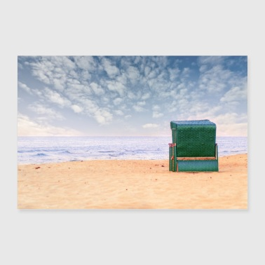 Romantic green beach chair alone at the romantic sea - 30x20 cm Poster